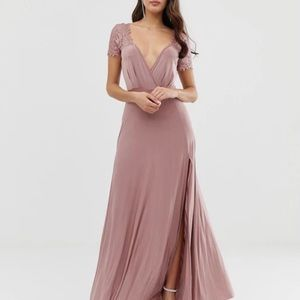 ASOS DESIGN Scallop Lace Top Pleated Maxi Dress